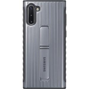 Tvrdený ochranný zadný kryt so stojankom pre Galaxy Note10, strieborný