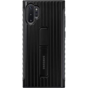 Tvrdený ochranný zadný kryt so stojankom pre Galaxy Note10+, čierny