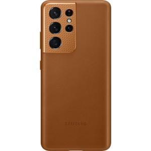 Samsung koženný zadný kryt EF-VG998LAE pre S21Ultra, hnedé