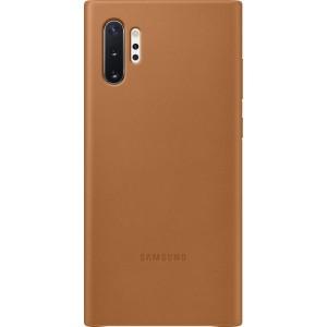 Koženný zadný kryt pre Galaxy Note10+, hnedý
