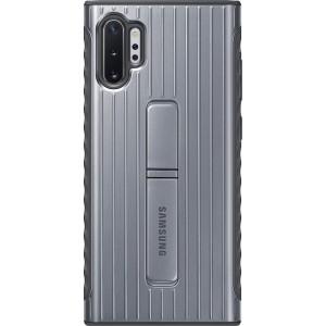 Tvrdený ochranný zadný kryt so stojankom pre Galaxy Note10+, strieborný